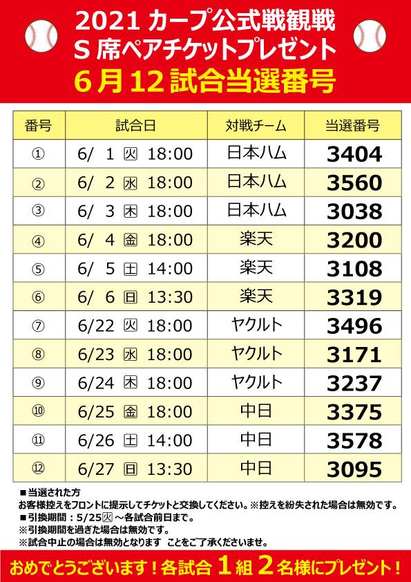 カープ公式戦観戦s席ペアチケット6月12試合当選発表♪